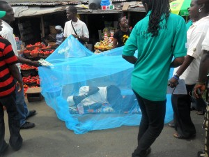 Long lasting insecticide net demonstration