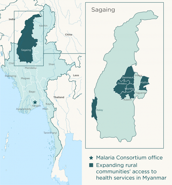 Map for Expanding rural communities' access to health services in Myanmar