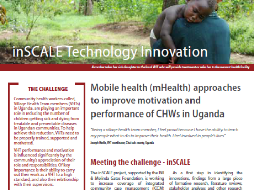 Photo for: inSCALE: Mobile health (mHealth) approaches to improve motivation and performance of CHWs in Uganda