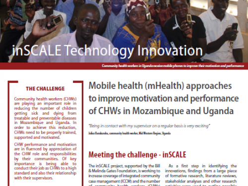 Photo for: inSCALE: Mobile health (mHealth) approaches to improve motivation and performance of CHWs in Mozambique and Uganda