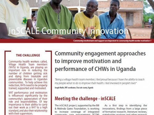 Photo for: inSCALE - Community engagement approaches to improve motivation and performance of CHWs in Uganda