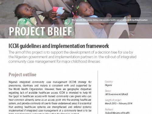 Photo for: iCCM guidelines and implementation framework