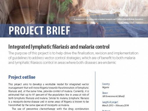 Photo for: Integrated lymphatic filariasis and malaria control