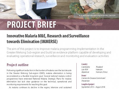 Photo for: Innovative Malaria M&E, Research and Surveillance towards Elimination