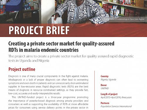 Photo for: Creating a private sector market for quality-assured RDTs in malaria endemic countries