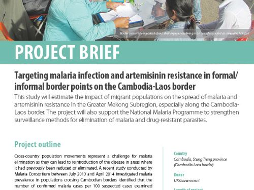 Photo for: Targeting malaria infection and artemisinin resistance in formal/ informal border points on the Cambodia-Laos border