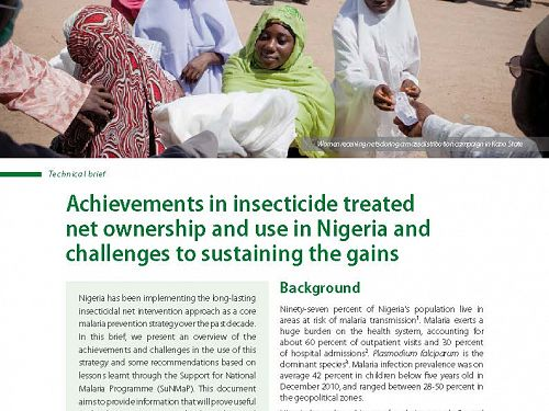 Photo for: Achievements in insecticide treated net ownership and use in Nigeria, and challenges in sustaining the gains