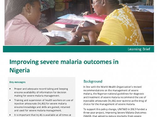Photo for: Improving severe malaria outcomes in Nigeria