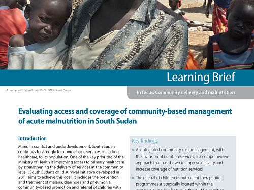 Photo for: Evaluating access and coverage of community-based management of acute malnutrition in South Sudan