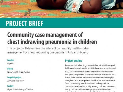Photo for: Community case management of chest indrawing pneumonia in children