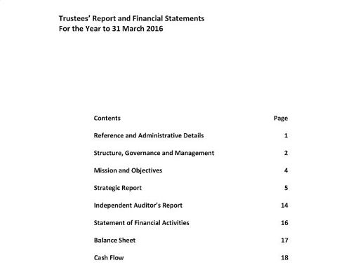 Photo for: Trustees' Report and Financial Statements For the Year to 31 March 2016