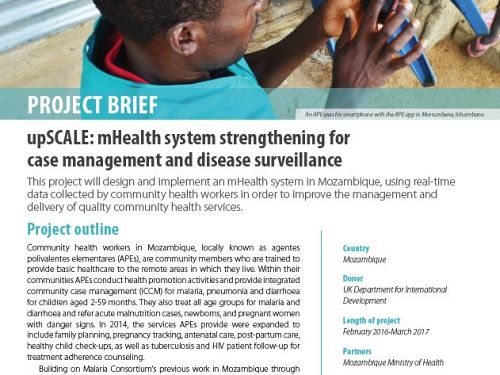 Photo for: upSCALE: mHealth system strengthening for case management and disease surveillance