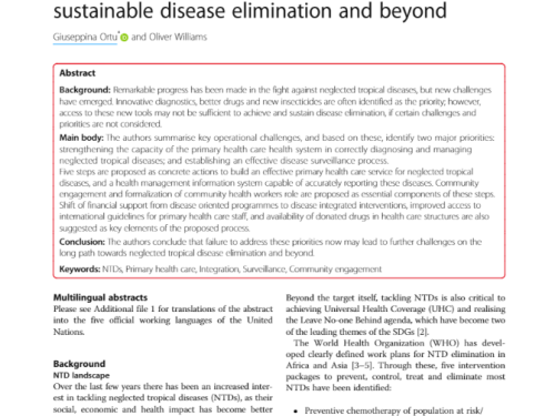 Photo for: Neglected tropical diseases: Exploring long-term practical approaches to achieve sustainable disease elimination and beyond