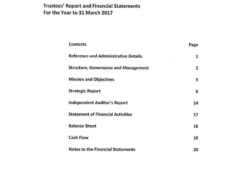 Photo for: Trustees' report and financial statements for the year to 31 March 2017