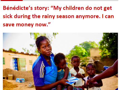 "Photo for: Bénédicte's story: ""My children do not get sick during the rainy season anymore. I can save money now."""