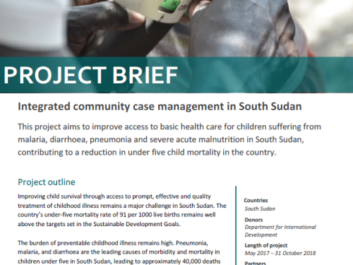 Photo for: Integrated Community Case Management in South Sudan