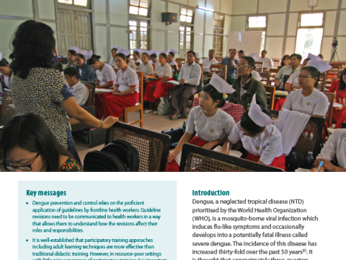 Photo for: Supporting roll-out of revised dengue prevention and control guidelines in Myanmar
