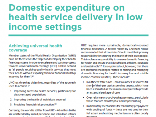 Photo for: Domestic expenditure on health service delivery in low-income settings