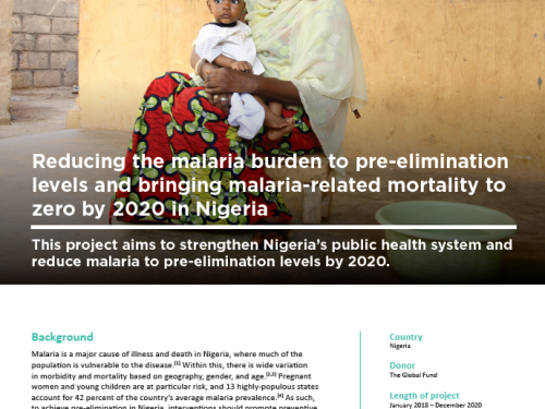 Photo for: Reducing the malaria burden to pre-elimination levels and bringing malaria related mortality to zero by 2020 in Nigeria
