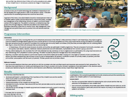 Photo for: Mitigating the challenges of introducing an mHealth solution in rural Mozambique by using a community dialogue approach