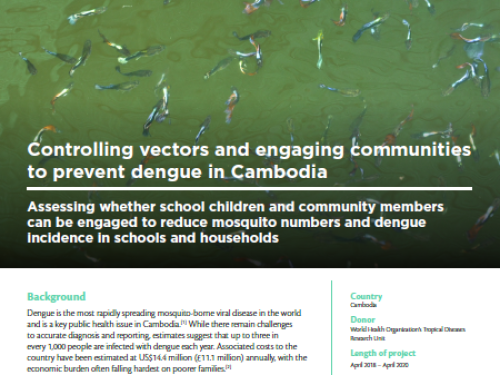 Photo for: Controlling vectors and engaging communities to prevent dengue in Cambodia