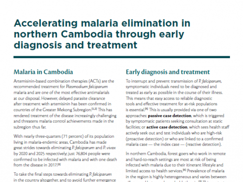 Photo for: Accelerating malaria elimination in northern Cambodia through early diagnosis and treatment