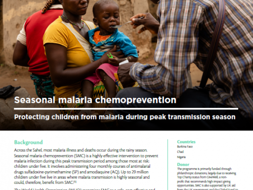 Photo for: Seasonal malaria chemoprevention