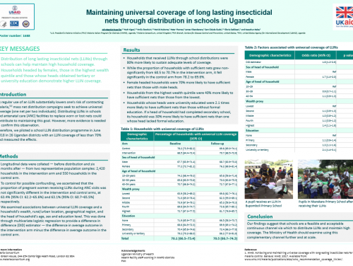 Photo for: Maintaining universal coverage of long lasting insecticidal nets through distribution in schools in Uganda