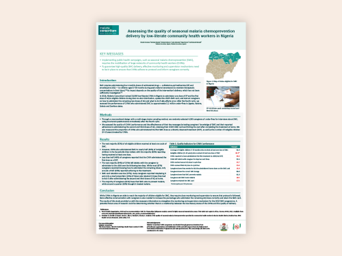 Photo for: Assessing the quality of seasonal malaria chemoprevention delivery by low-literate community health workers in Nigeria