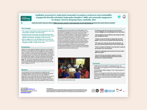 Photo for: Qualitative assessment to understand community's acceptance, preferences and sustainability of guppy fish (Poecilia reticulata), Pyriproxyfen (Sumilarv® 2MR), and community engagement for dengue control in Kampong Cham, Cambodia, 2016
