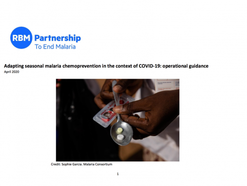Photo for: Adapting seasonal malaria chemoprevention in the context of COVID-19: operational guidance