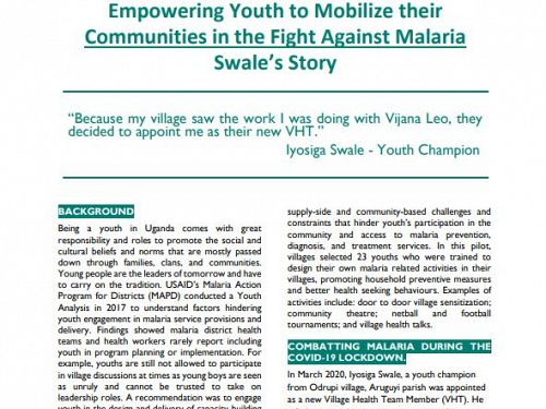 Photo for: Empowering Youth to Mobilize their Communities in the Fight Against Malaria: Swale's Story