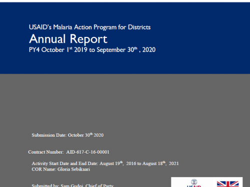 Photo for: USAID Malaria Action Program for Districts: Year 4 report