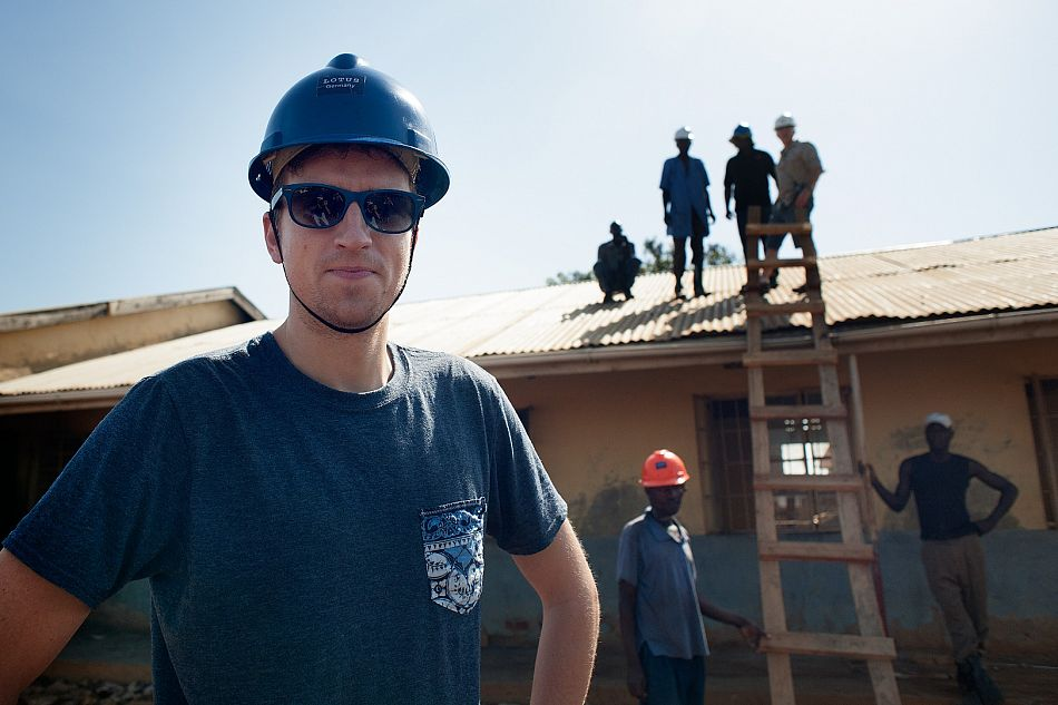 pBBC Radio 1 Presenter Greg James on site during the renovationppCopyright Will BoaseComic Reliefp