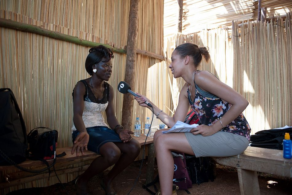 pBBC Radio 1XTRA presenter Yasmin Evans interviews Florence an electrician working on the renovation of the health centreppCopyright Will BoaseComic Reliefp