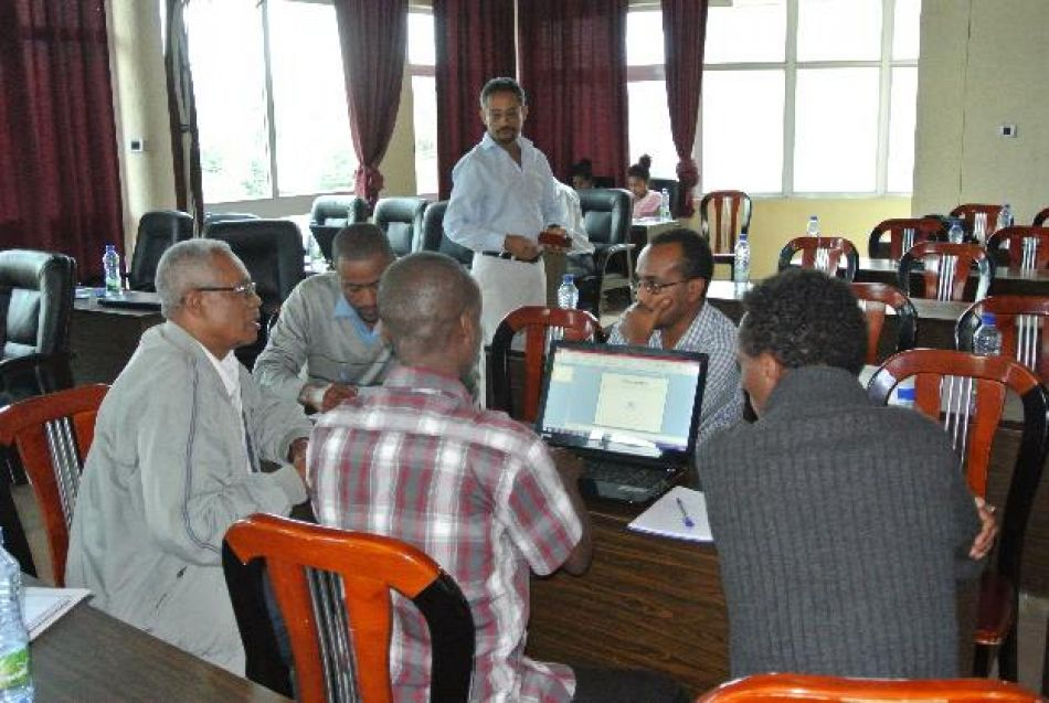 pGroup discussion Workshop attendees discuss how to use study findings for integrated community case management and integrated management of neonatal and childhood illnesses These sessions were coordinated by Dr Hailu Tesfaye from Save the Childrennbspp