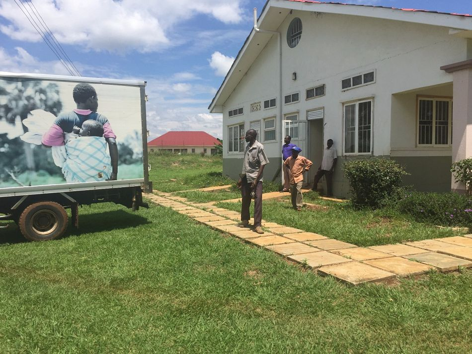 pThe truck arrives in Iyolwa Tororo district where it is welcomed by the Health Centre staff and parked to unload the bicyclesp