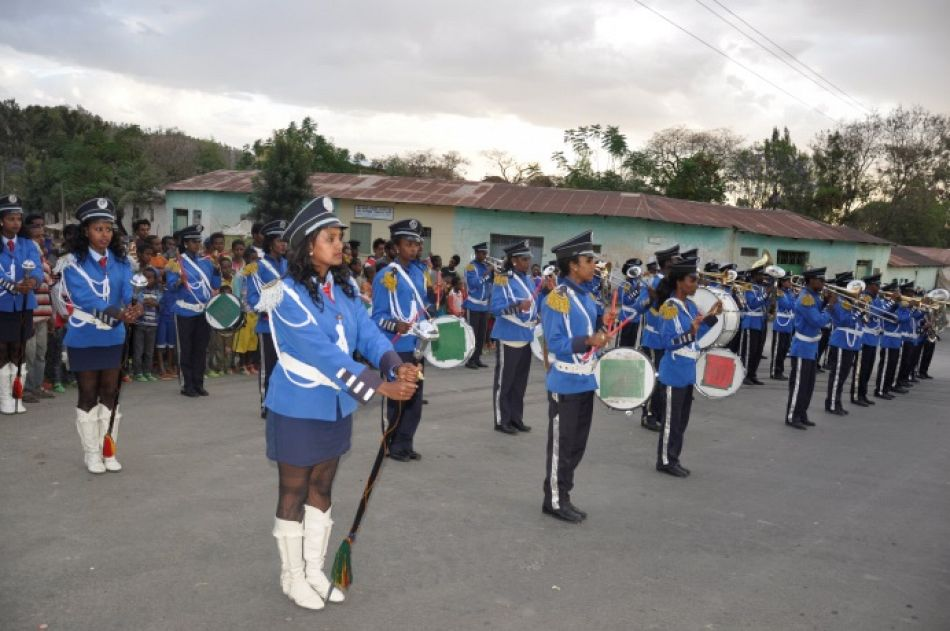 pA marching band plays for World Malaria Day celebrationsp