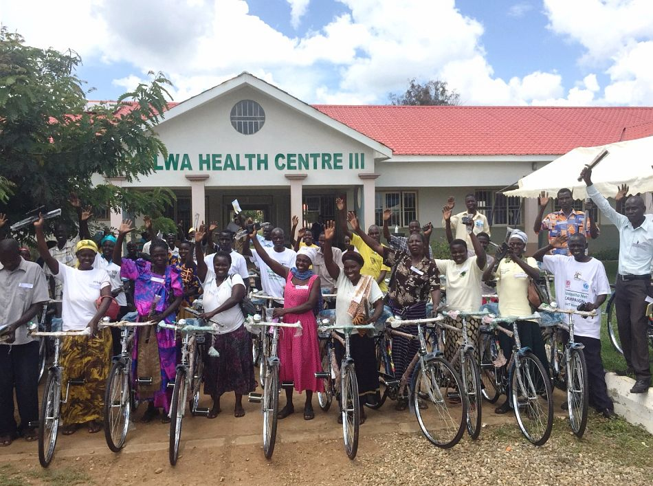 pVillage health team members from 43 communities receive a bicyclenbspp