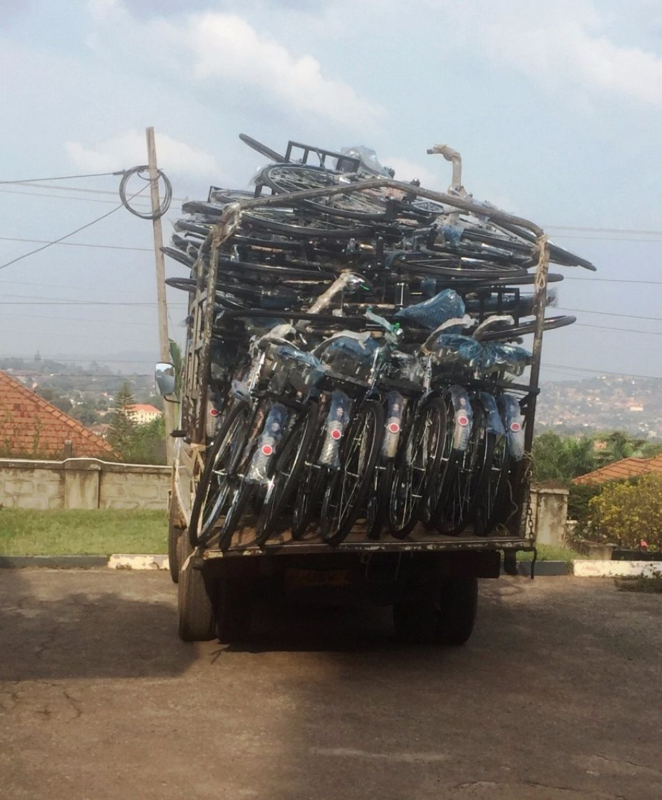 pA truck carrying 43 donated bicycles arrives at the Malaria Consortiums office in Kampalap