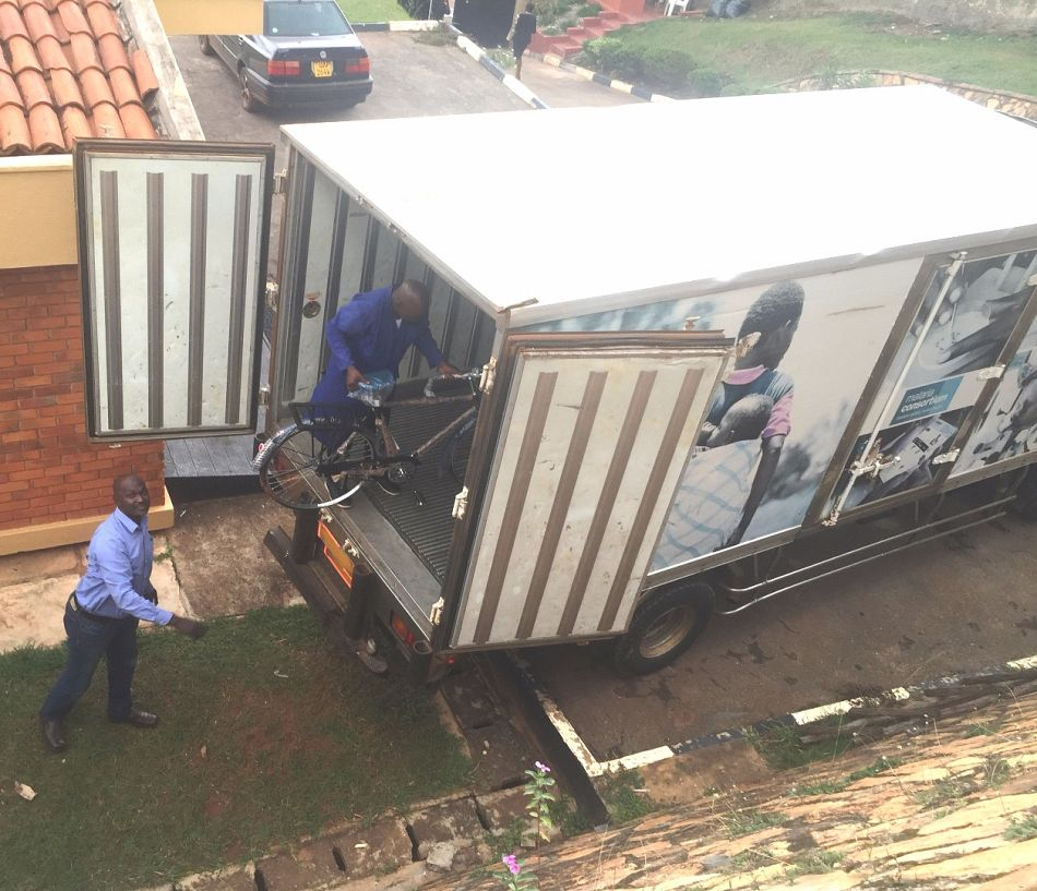 pOnce they are cleared the bicycles are transported to Tororo district in eastern Ugandap