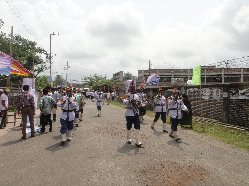 pA marching band plays in Chittagong Bangladesh during World Malaria Day celebrationsp
