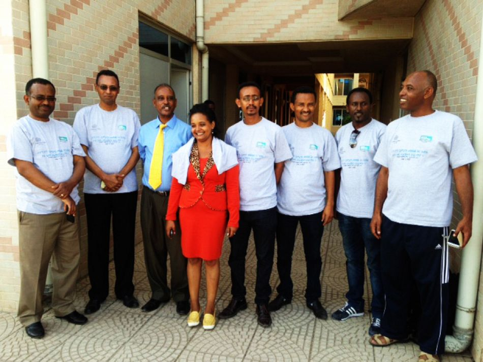 pMalaria Consortium staff with a the PR officer in the regional health bureau who developed the song script Advocacy workshop organized to observe 2014 WPD on Nov 15 2014 at Hawassa Cityp