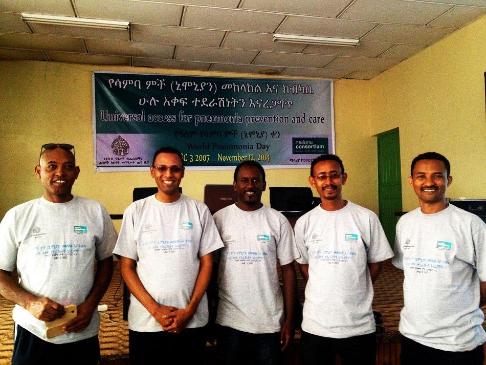 pStaff members of Malaria Consortium Ethiopia celebrating World Pneumonia Dayp