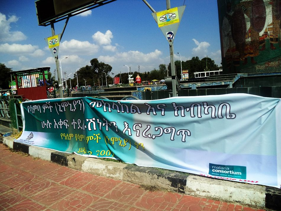 pA banner displayed with 2014 the World Pneumonia Day theme at Hawassa Gabriel Square Ethiopiap