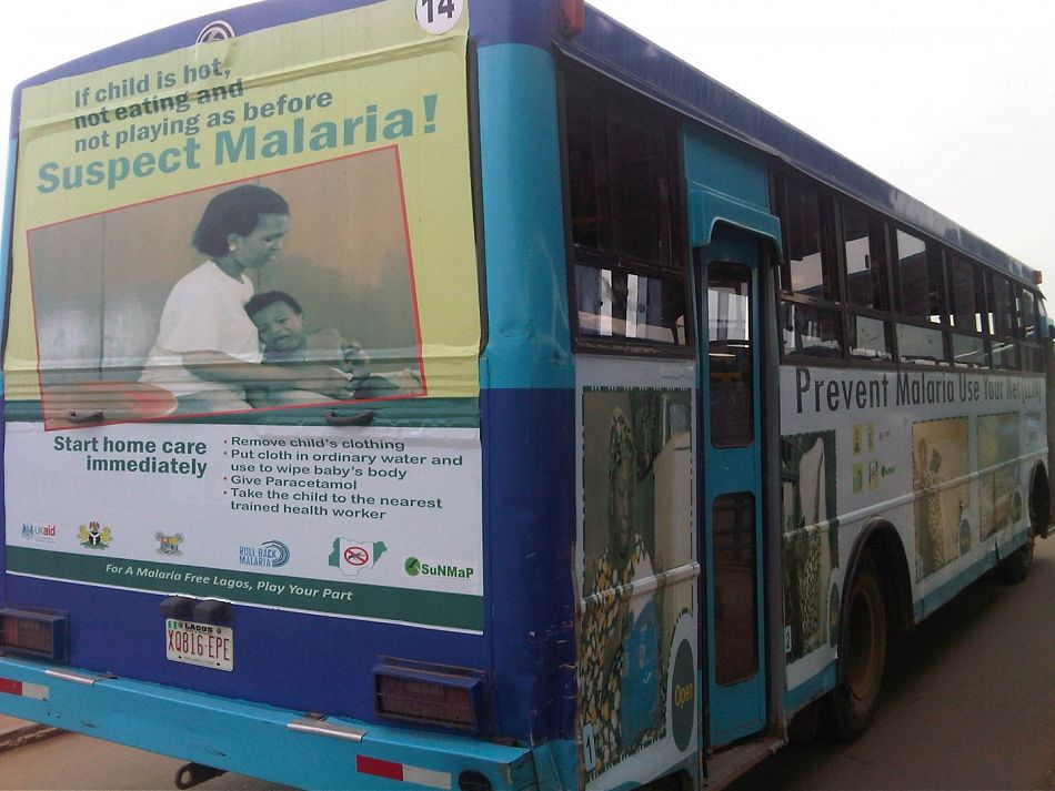 pIn Nigeria we promote health messages using a variety of platforms Our Support to National Malaria Programme SuNMaP funded by the UK government created demand for malaria services through radio jingles dramas television commercials posters and leaflets The photo above showing a Lagos bus is an example of some of the creative methods that we used to spread positive health messagesp