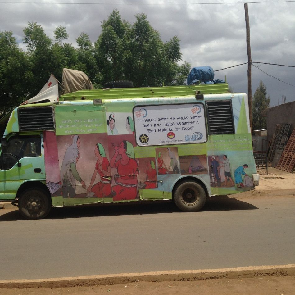pMalaria Consortium used vans in Ethiopia to spread awareness of malaria on the day These efforts can help remote communities recognise the symptoms of malaria and advise them what to do when they get sickp