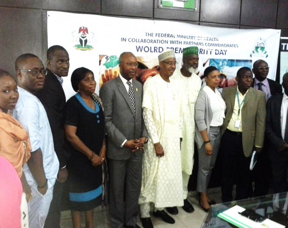 pThe Hon Minster FMOH Dr Khaliru Alhassan 6supthsup from left in native dress Permanent Secretary FMOH Mr Linus Awute 5tsuphsup from left and Director Child Health Dr Abosede Adeniran 4supthsup from left and representatives of partner organisations at the press briefing on World Pneumonia and Prematurity Day In Nigeria Nov 18 2014p