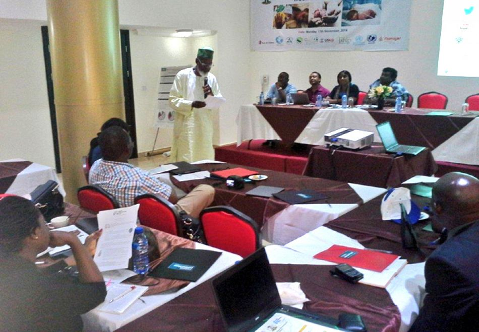pDr Nosa Orobaton standing responds to some issues raised at the roundtable on World Pneumonia and Prematurity Daynbspp