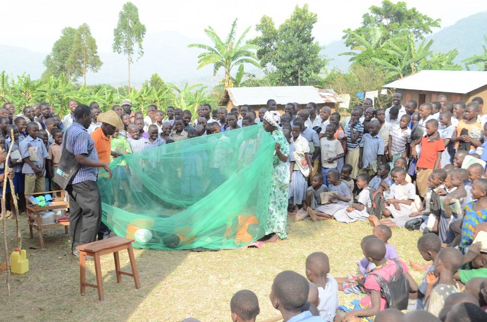 pOne of the core messages of the drama performances is conveying the importance of sleeping under mosquito nets Here the actors show how a net should be hungnbspp